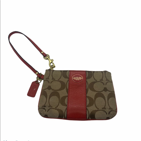 Coach | Wristlet | Brown/Tan & Red